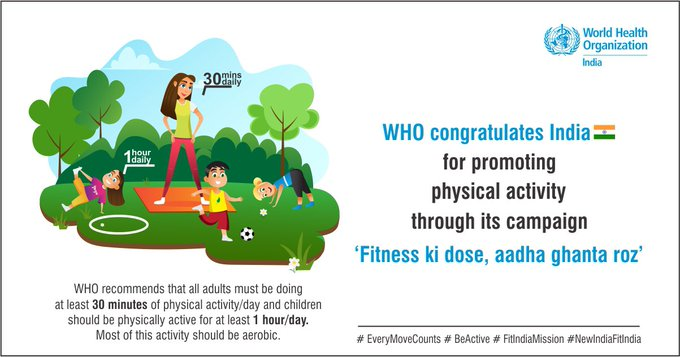 WHO applauds India's fitness campaign